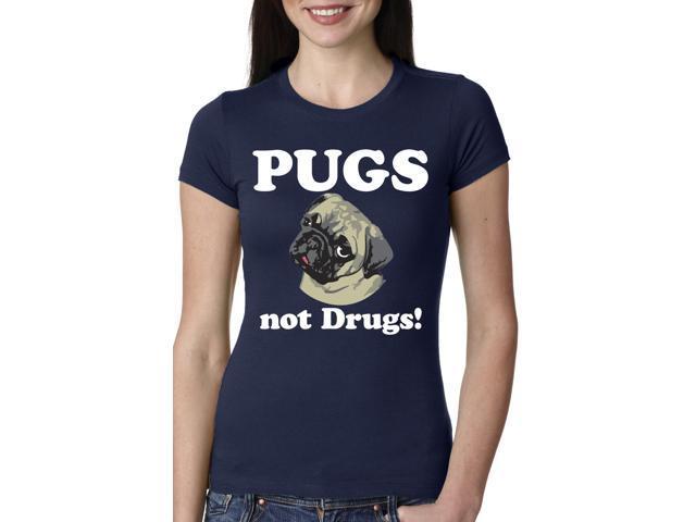 Women's Pugs Not Drugs T Shirt Funny Anti-Drug Dog Tee For Women 2XL
