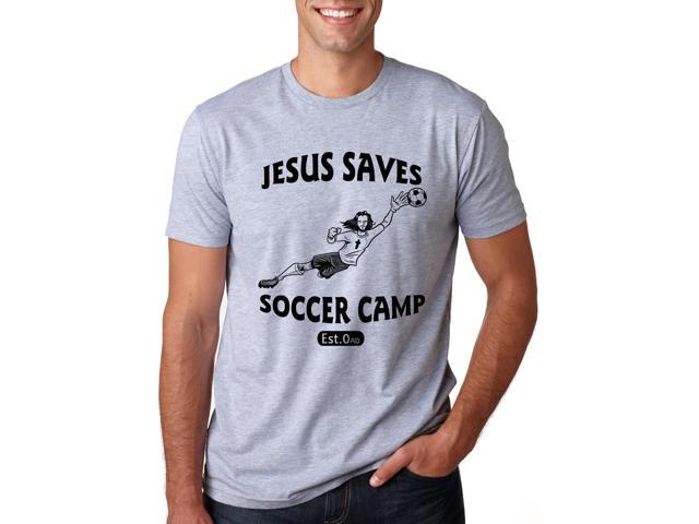 Jesus Saves Soccer Goalie T Shirt Funny Religion Sports Tee 2XL