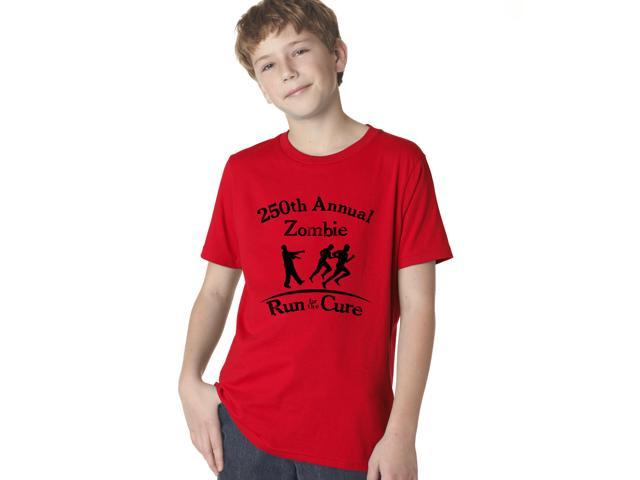 Youth Annual Zombie Run for the Cure T-Shirt Funny Undead Kids  Shirts L