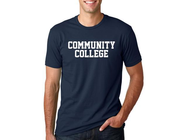 Community College T Shirt Funny Joke Parody Tee With Classic Block style Text XL
