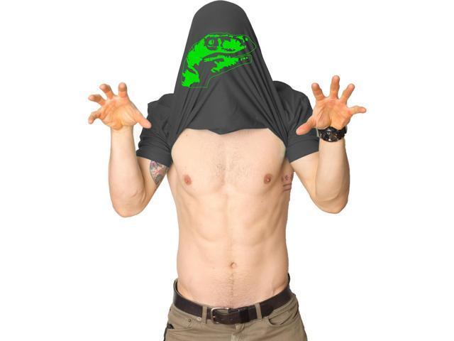 Ask Me About My Raptor Flipover T-Shirt - Funny Dinosaur Flip Up T-Shirt L