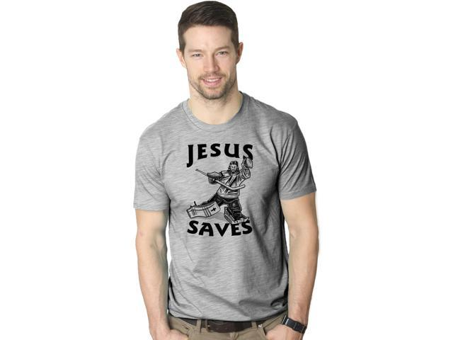 Jesus Saves Hockey Goal T Shirt Funny Religious Sport Tee M