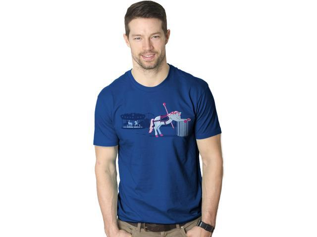 Sick of My Job T-Shirt Showing a Carousel Horse Throwing Up S