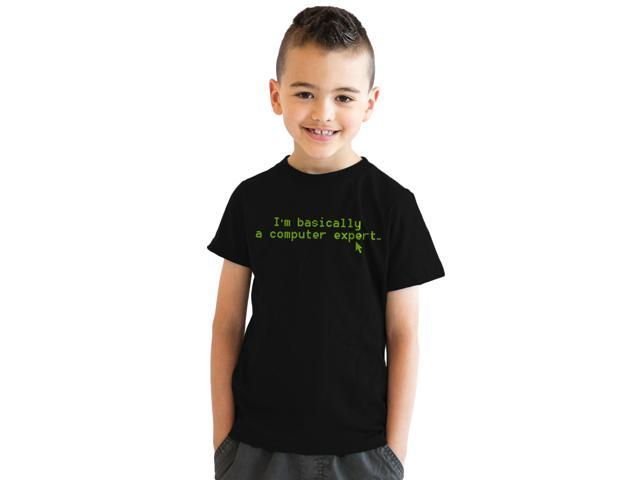 Youth Basically a Computer Expert Nerdy Technology T shirt (Black) S