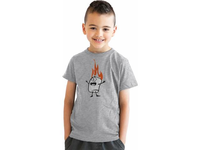 Youth Roasting Marshmallow Funny Camping Flame T shirt for Kids (Grey) XL
