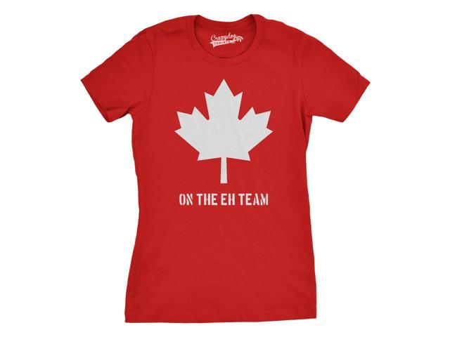 Women's Canada On the Eh Team T-Shirt Funny Canadian Shirts M