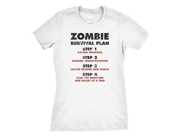 Womens Zombie Survival Plan T-Shirt Funny Zombie Attack Shirts XL