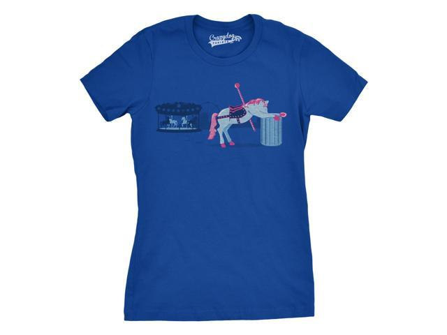 Women's Sick of My Job T-Shirt Showing a Carousel Horse Throwing Up L