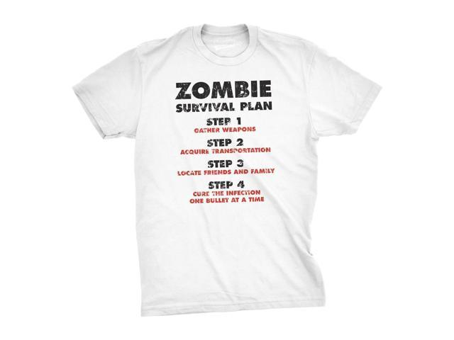 Zombie Survival Plan T-Shirt Funny Zombie Attack Shirts (White) L