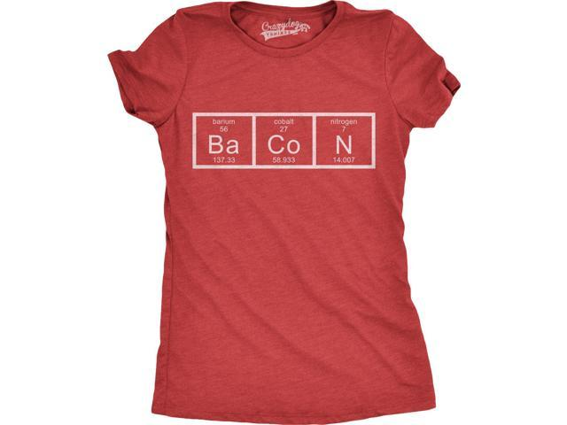Womens Chemistry of Bacon T Shirt Funny Periodic Table Tee For Ladies (Red) S