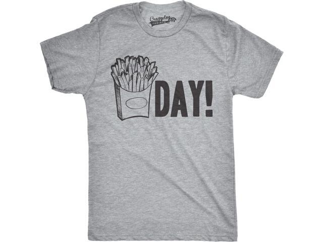 Mens Fry Day Friday T shirt Funny Fast Food French Fry Weekend TGIF Tee (Grey) 3XL