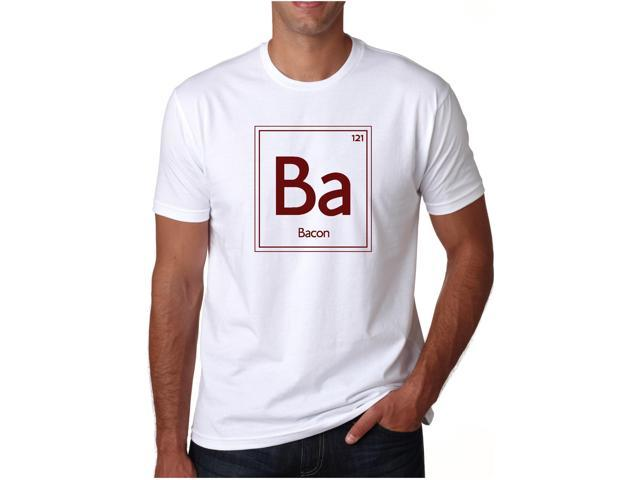 The Periodic Element of Bacon T-Shirt  Funny Chemistry Science Tee (white) XL