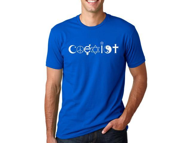 Coexist T Shirt Classic Peace Religious Symbols Unity Tee (blue) 3XL