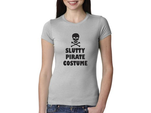 Women's Slutty Pirate Costume T shirt Cheap and Funny Halloween Costume (Grey) XXL