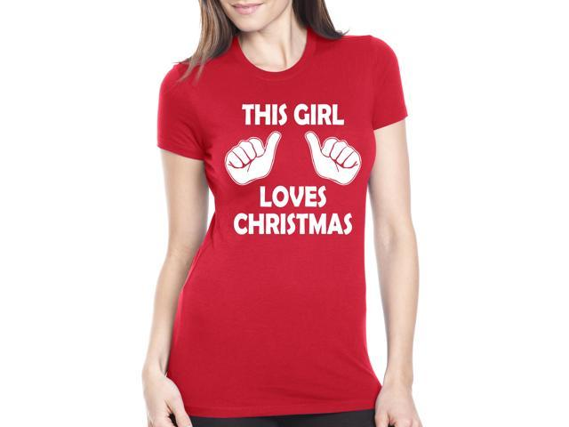 Womens This Girl Loves Christmas T Shirt Funny Holiday Shirt For Women (Red) XXL