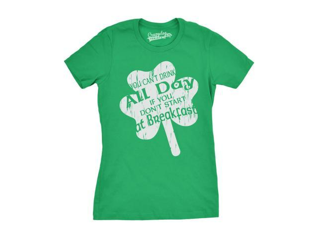 Womens Drink All Day T Shirt St Paddys Saint Patricks Day Parade Tee For Ladies (white) XXL