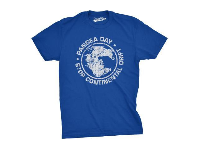 Pangea Day Stop Continental Drift T-Shirt - Funny Geography Science Earth Shirt (Blue) L
