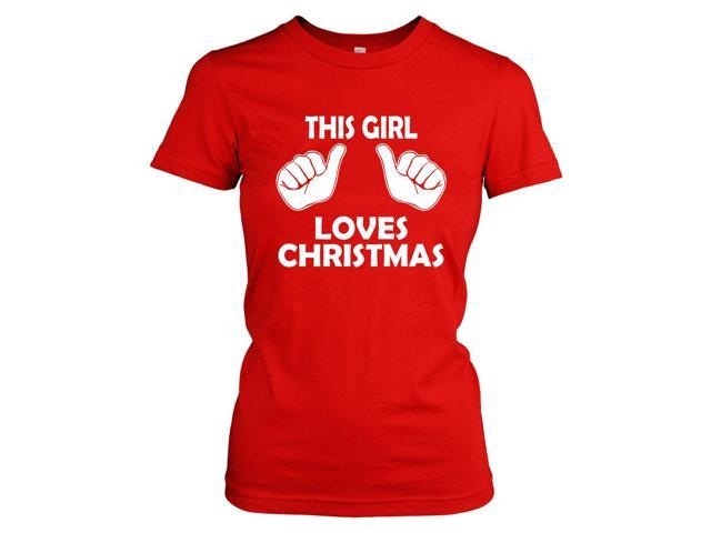 Youth This Girl Loves Christmas Shirt Kids Xmas Party Holiday Shirt For Girls (Red) M