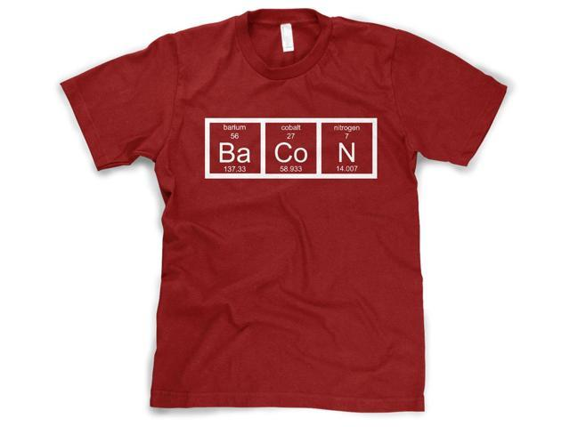 Youth The Chemistry Of Bacon T Shirt Funny Periodic Table Tee For Kids (Red) M
