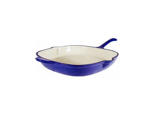 Fancycook Enamel Cast Iron Blue Square Grill Pan 12-Inch