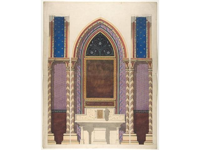 Elevation of a design for an altar and painted wall for Altar wall decoration