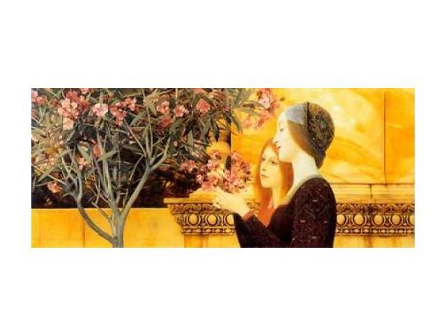 Two Girls With Oleander c. 1892 Poster Print by Gustav Klimt (24 x 48)