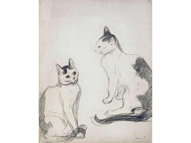 The Two Cats Poster Print by Theophile Steinlen (22 x 28)