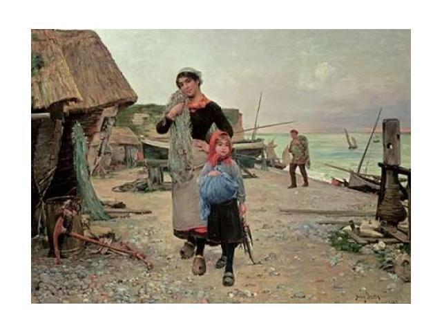 Fisherfolk Returning With Their Nets Poster Print by Henry Bacon (18 x 24)