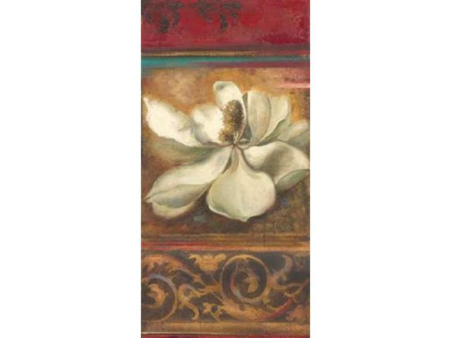 Red Eclecticism with Magnolia Poster Print by Patricia Pinto (24 x 48)