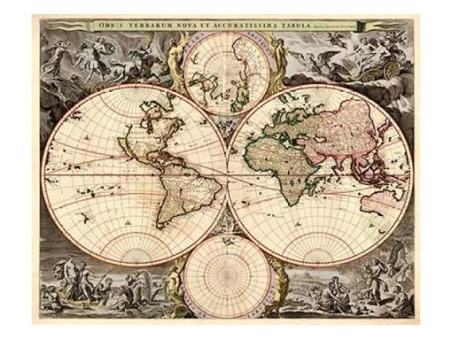 World Map Poster Print by  Nicolao Visscher  (8 x 10)