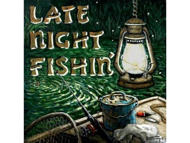 Late Night Fishing Poster Print by  Janet Kruskamp  (12 x 12)