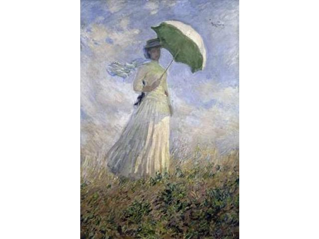 Woman with a Parasol Turned to the Right Poster Print by  Claude Monet  (10 x 14)