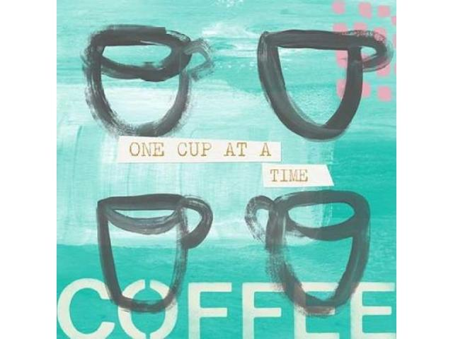 Blue Coffee IV Poster Print by Linda Woods (12 x 12)