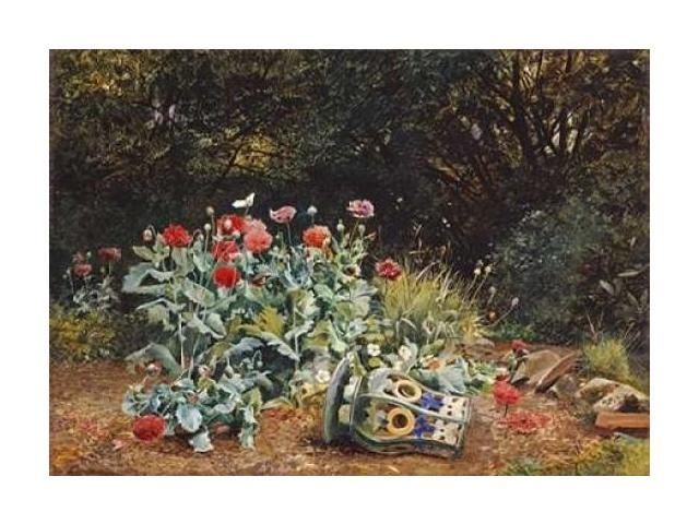 Summer Flowers In a Quiet Corner of a Garden Poster Print by  David Bates  (10 x 14)