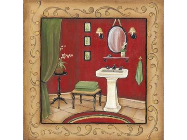 Red Bathroom Sink Poster Print by Kim Lewis (12 x 12)