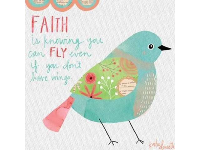 Faith Watercolor Bird Poster Print by Katie Doucette (12 x 12)