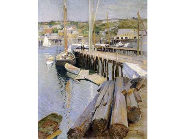 Fish Wharves - Gloucester Poster Print by  Willard Leory Metcalf  (8 x 10)