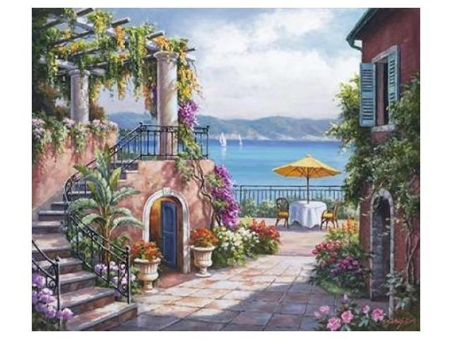 Tuscan Terrace Poster Print by  Sung Kim  (12 x 12)