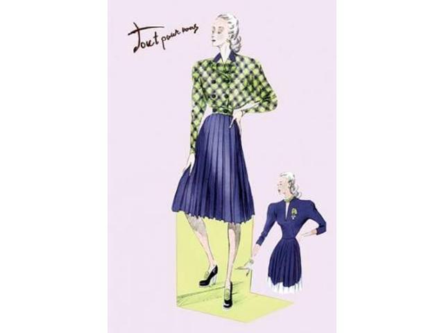 Pleated Dress with Plaid Jacket 1947 Poster Print by  Unknown (24 x 36)