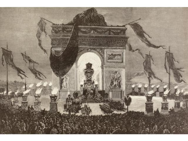 The Coffin Of French Writer Victor Hugo Is Displayed Beneath The Arc De Triomphe Paris France During His Funeral Rites On The Night Of May 31 1885 From A 19Th Century Illustration Poster Print (17 x 1