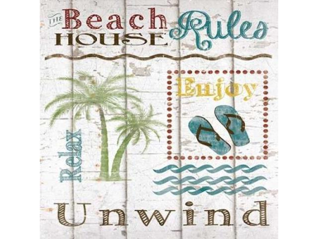 Beach House Rules Poster Print by Katrina Craven (24 x 24)