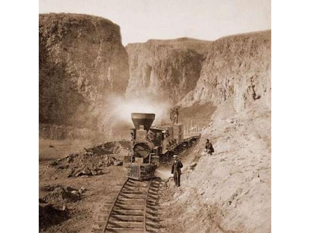 First Construction Train passing the Palisades Ten Mile Canon Nevada 1866-1869 Poster Print by  Alfred A Hart  (12 x 12)