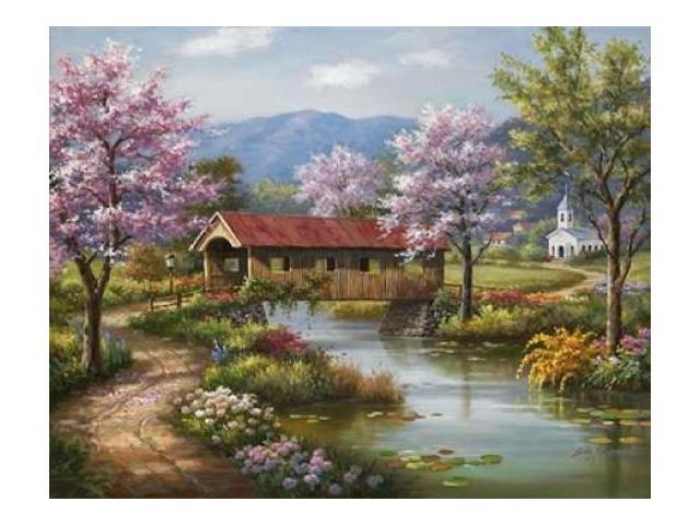 Covered Bridge in Spring Poster Print by  Sung Kim  (11 x 14)