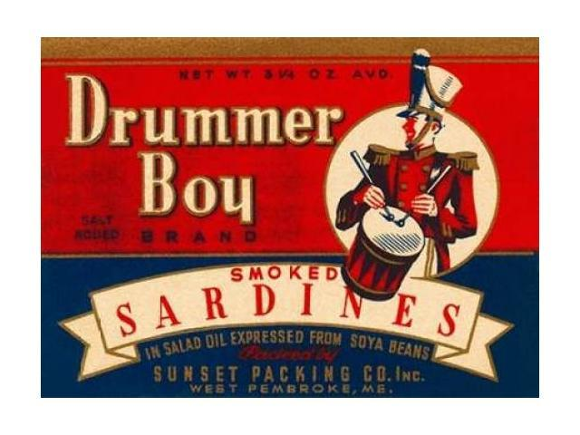 Drummer Boy Smoked Sardines Poster Print by Retrolabel  (9 x 12)