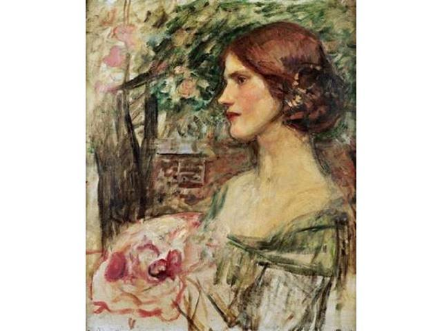 Portrait of a Lady In a Green Dress Poster Print by  John William Waterhouse  (10 x 12)