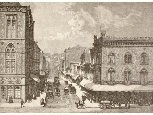 San Francisco California United States Of America Montgomery Street In The 1880S From A 19Th Century Illustration Poster Print (17 x 12)
