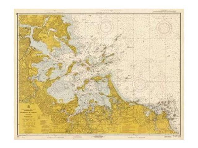 Nautical Chart - Boston Harbor ca. 1970 - Sepia Tinted Poster Print by  NOAA Historical Map-Chart (22 x 28)