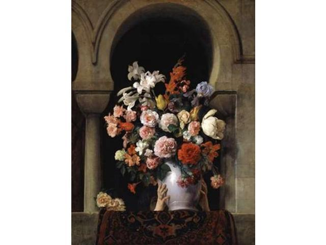 Vase of Flowers In The Window Poster Print by  Francesco Hayez  (9 x 12)