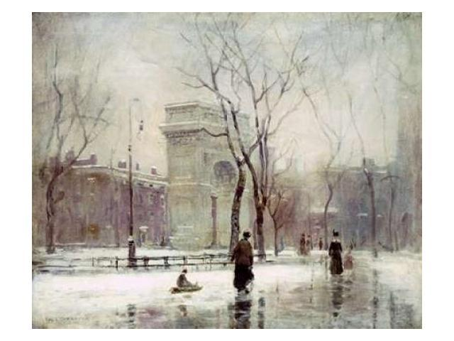 Winter In Washington Square Poster Print by Paul Cornoyer (20 x 24)