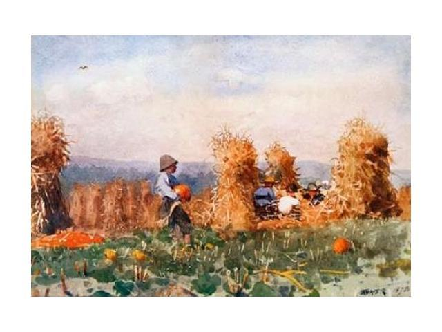 Pumpkin Patch Poster Print by  Winslow Homer  (10 x 14)